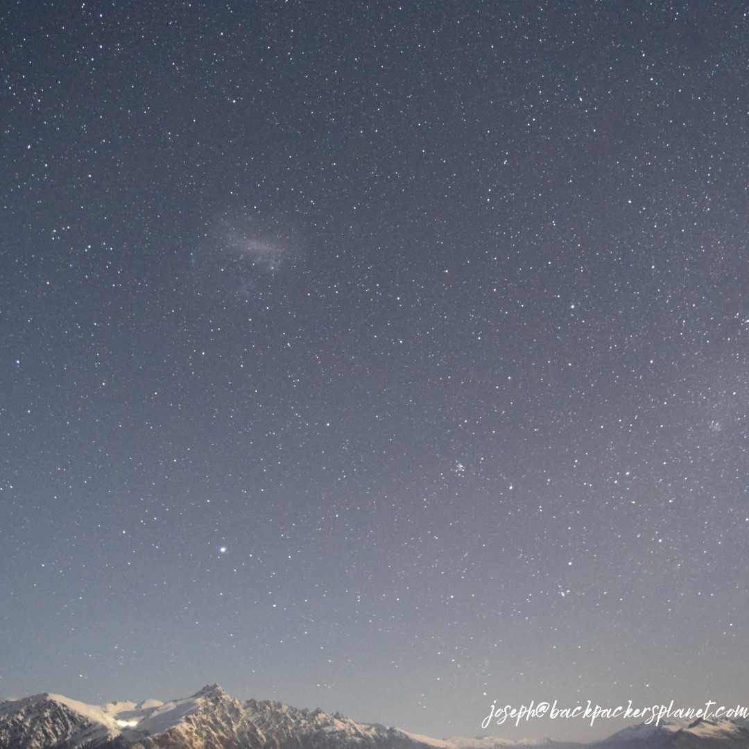 starry sky at the top of Coronet Peak
